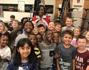 Mrs. Daughty with her class