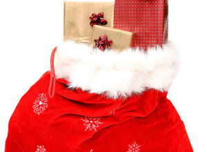 Holiday sack full of gifts